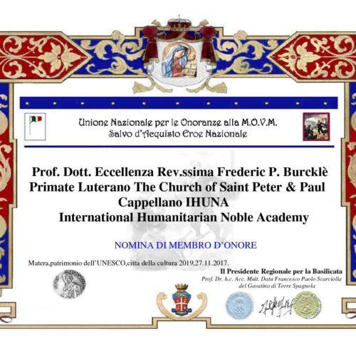 Attestato Fredericc P Burkle
