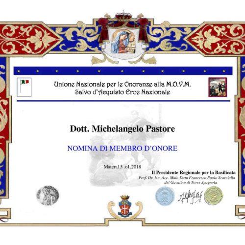 Attestato Michelangelo Pastore