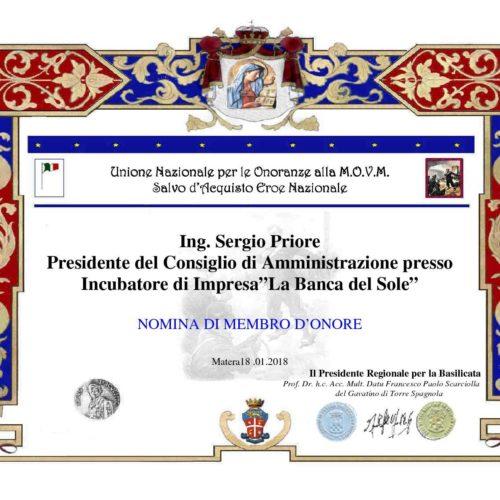 Attestato Sergio Priore