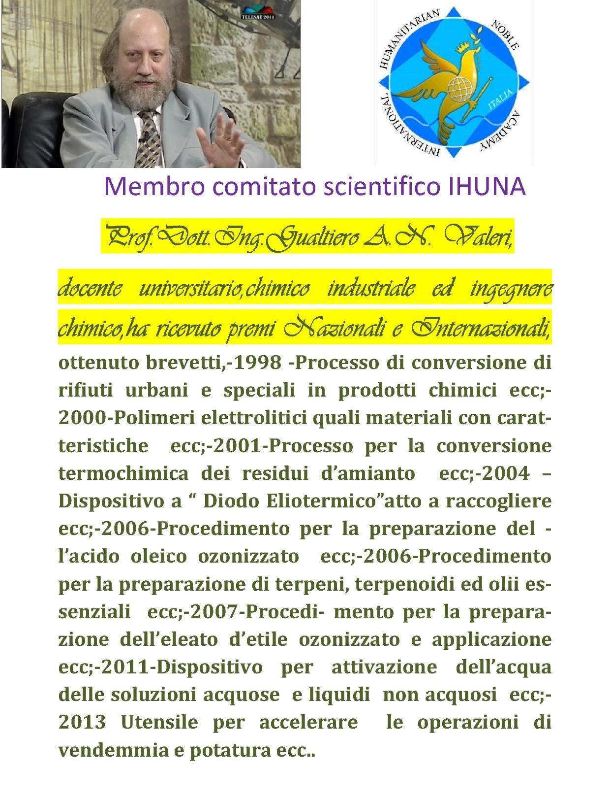 Prof. Dott. Ing. Gualtiero A. N. Valeri