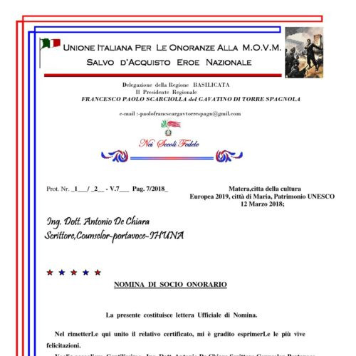 Lettera nomina Socio Onorario MOVM Ing Dott Antonio De Chiara