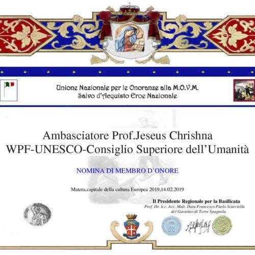 Ambasciatorte Unesco Prof Jeseus Chrishna