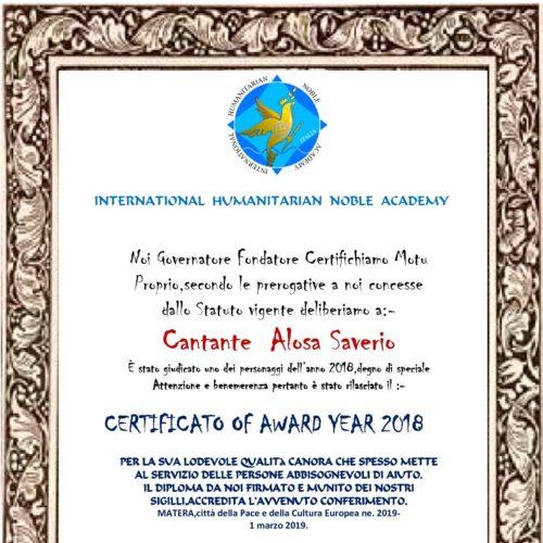 cerificato Award cantante Alosa Saverio1